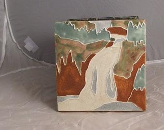 Ceramic Landscape Tile- Waterfall-sage