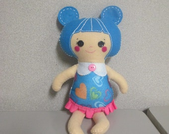 Jenny Felt doll/ rag doll/ cloth doll/ plushie doll with blue hair and pink skirt
