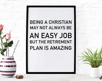 Funny Printable Christian Wall Art Office Retirement Bible Verse Printable Funny Poster Christian Scripture Art Bible Quote Small Gift