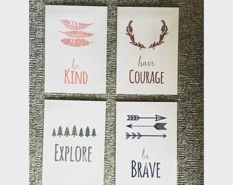 Nursery set of four woodland effect prints