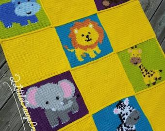 Jungle Animals-Lion-Elephant-Hippo-Zebra-Monkey-Giraffe-Crochet Chart-Crochet Graph-Baby Blanket-Graph Pattern-Customize-Personalize-Custom