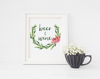 Beer and wine sign | Open bar wedding sign | Watercolour wedding sign | Wedding open bar sign | Watercolour floral open bar wedding sign S4