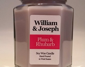 Plum & Rhubarb Scented Soy Candle, Plum Candle, Rhubarb Candle, Soy Candle, Scented Candles