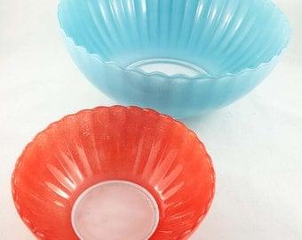 Rare Blue and Orange Glass Ripple Bowls