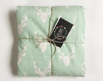 Mint Deer Baby Blanket- Baby Girl, Modern, Rustic, Buck, Stroller Blanket, Crib Blanket