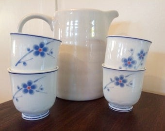 Floral sake or tea set, also available as candles