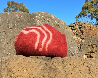 Colours of Australia - RED EARTH~Felt Cat Cave~Felted Cat Bed~Pet Bed~Eco-Friendly~Merino Wool~Handmade~Cat House