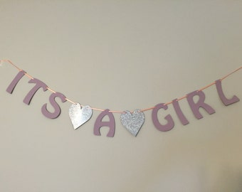 It's A Girl Banner Baby Shower Gender Reveal Party