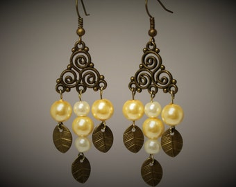 Antique Gold & Pearl Chandelier Earrings