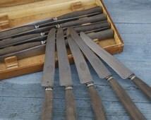 French Vintage Dinner Knives/Rustic Butter Knives Wood Handle/Steel Vintage Knives/Vintage Dinner Knives/Man's Knife Set Dinner