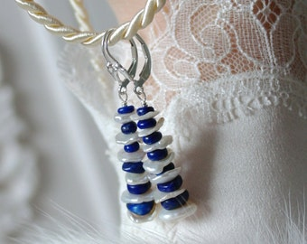 Lapis lazuli keshi Pearl Earrings Sterling Silver 925