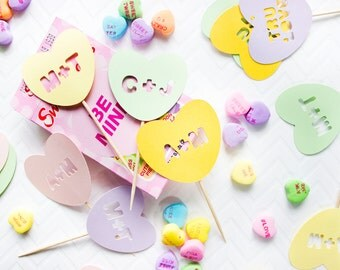 12 Custom Valentine Toppers // Engagement Party Cupcake Toppers // Conversation Heart Toppers // Valentine's Day Cupcakes // Wedding