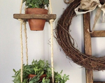 Vertical 2 Tier Wood Hanging Planter Pots Not Included Rustic Home Decor