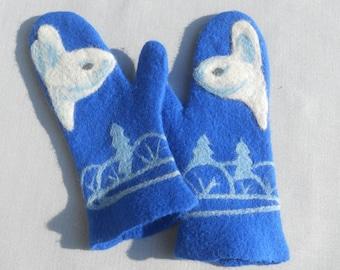 Felted mittens  Blue mittens Warm mittens Wool mittens Bunny Merino wool Whait hare Valentines gift Wife gift Birthday gift