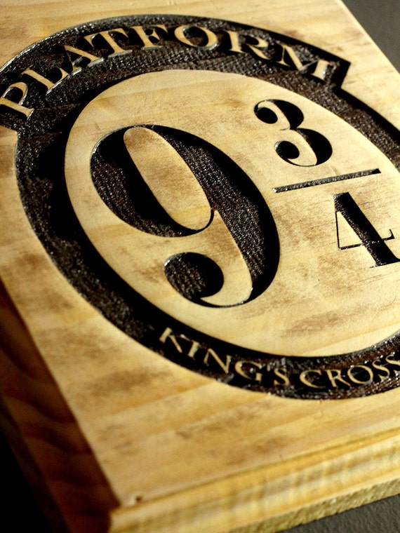 Wooden laser engraved Kings Cross Station - Platform 9 3/4 - Harry Potter Sign.