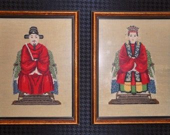 Pair of Framed Needlepoint Asian Style Figures