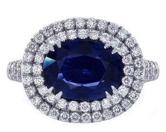 2.98 Carat Blue Sapphire and Diamond Cocktail Ring Platinum