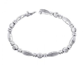 0.75 Carat Round Brilliant Cut Diamond Fancy Link Bracelet 14K White Gold
