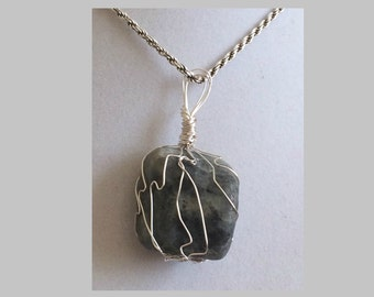 Lapis Lazuli Pendant, Handmade, Wire Wrapped Crystal (Silver Wire #12)