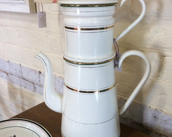 Very tall French enamel cafetière
