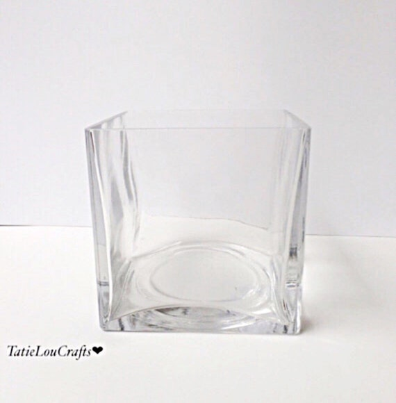 Inch square glass vase wedding centerpiece by tatieloucrafts