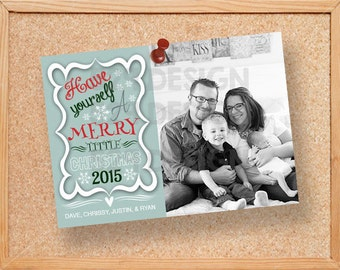 Merry Little Christmas Card  - DIGITAL FILE or PRINTED