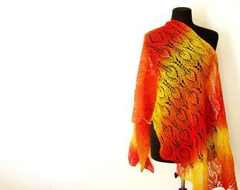 Knit stole, knitted wrap, hand knit scarf, wool shawl, gift for her, knit shawl, hand knit shawl lace shawl Knitting Shawl, womens gift