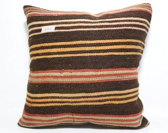 Cushion Cover 20x20 Striped Pillow Multicolour Pillow Kilim Cushion Case Antique Pillow Boho Pillow Large Floor Pillow home decor SP5050-674