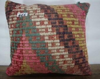 Turkish Kilim Embroidered Pillow Cover 16x18 Anatolian Kilim Pillow Throw Pillow Vintage Kilim Cushion Decorative Pillow SP4040-461