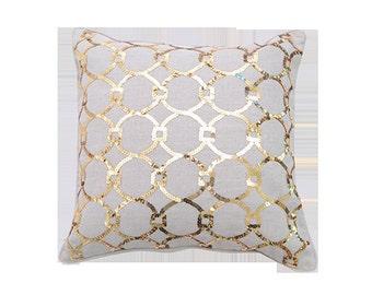 Designer 100% linen ecofriendly sequined Pillow  Cover
