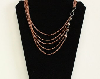 Chocolate Pearl Copper Chain Tier Necklace