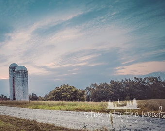Silos and Field; North Carolina Wall Art, Farm Decor, Farm House Decor, Landscape, Blue Sky, Farmland Photography, Vintage, Country Life