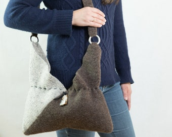 Shoulder bag Purse Tote Felted Brown and Tan Lined