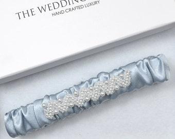 Wedding Garter, Blue Pearl Satin Wedding Garter, Blue Satin Wedding Garter, Bridal Garter, Keepsake