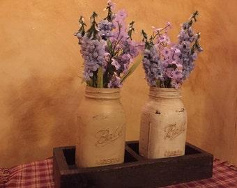 Two Mason Jar Centerpiece with flowers