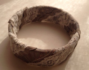 Fun Taupe Paisley Fabric with Lace Cuff Bracelet