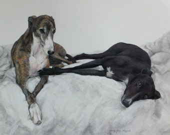 COMMISSIONED GREYHOUND Portraits of your Greyhound,Italian Greyhound,Whippet,Realistic,MASTERPIECE  by Master artist Wendy Jane Sheppard