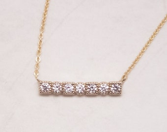 Gold Pave bar necklace Gold