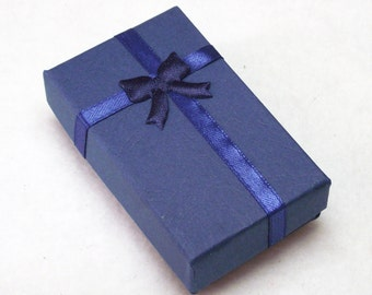 "Gift Box With Bow Attached for Your Jewelry Creations in Dark Blue - Slots For Necklace/Bracelet, 2 Rings and Earrings - 5cm x 8cm (2""x3"")"