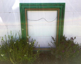 Handmade Painted and Distressed Annie Sloan-Antibes Green Frame