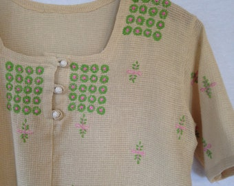 1970s hand embroidered peasant blouse