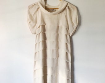90s does 20s Cream Tiered Smock / Flapper Dress with Cowl Neck