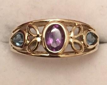 9ct gold Amethyst & blue topaz ring