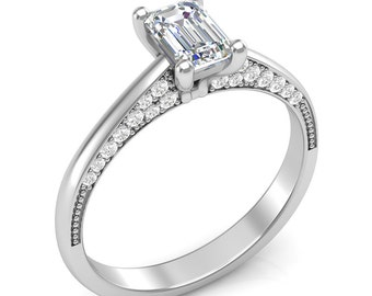 White Gold Engagement Ring Emerald Cut Ring Unique Ring Her Semi Mount Forever One Colorless Moissanite Emerald Cut Center 14K New Setting