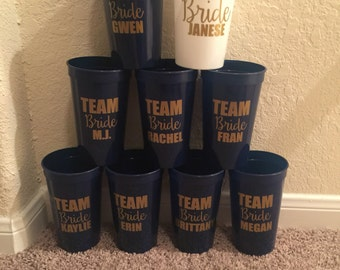 Personalized Team Bride, Bride Cup or Both!  22oz. Stadium Cups
