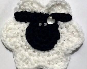 Crochet Beaded Sheep Applique