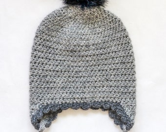 baby pom pom merino wool hat /  baby earflap hat / 0-12 months