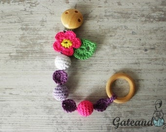 Pacifier clip crochet with flower. Baby Brooch. Safety pin.