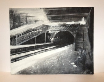 Original painting- Green Lane Railway Station, train station, black & white