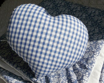 Cushion heart checkered gingham blue and white striped blue and white for a nice gift to offer to a boy and a girl by cath